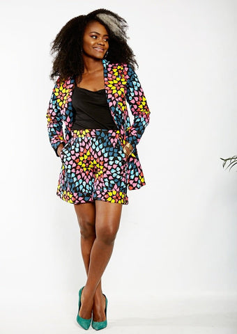 New In Jenny African Ankara Print Jacket and Shorts Set