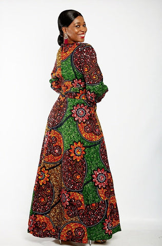 Long Sleeve African Ankara Print Maxi Dress