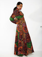 Long Sleeve African Ankara Print Maxi Dress - African Clothing from CUMO LONDON