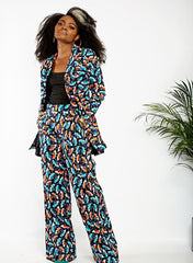 Chika African Print Fitted Blazer Set and Pallazo Pants - African Clothing from CUMO LONDON