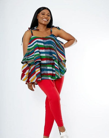 African Print Double Flare Summer Top - Tinuke - African Clothing from CUMO LONDON