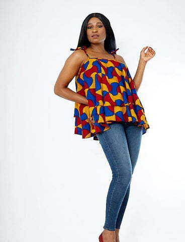 African Print Double Flare Summer Top - Tinuke