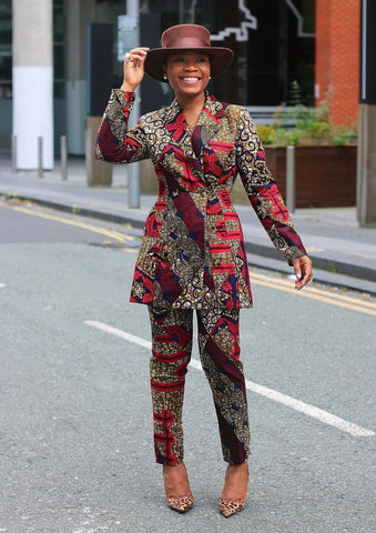 Yemme African Print Double Breasted Blazer - African Clothing from CUMO LONDON