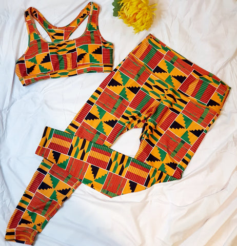 New in African Kente Print Yoga Active Wear