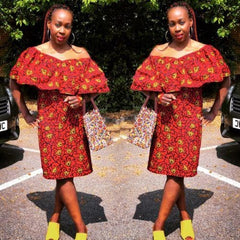New African fabric Ankara Summer Dress women Size 12 - 16 UK, red n yellow - African Clothing from CUMO LONDON