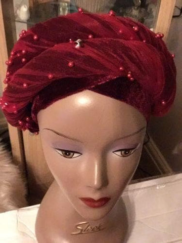 Velvet Turban Beaded Double headwraps .. Plus Other colours