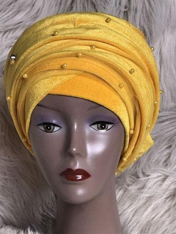 Yellow Double Beaded velvet Turban headwraps .. Plus Other colours