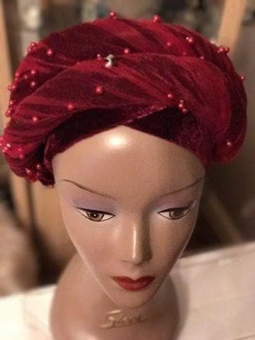 Double Beaded velvet Turban headwraps In Burgundy (other Colours available)
