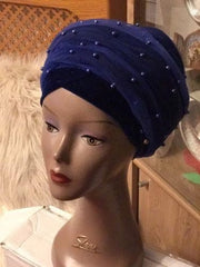 Double Beaded velvet Turban headwraps With Mesh Net in Royal Blue - African Clothing from CUMO LONDON