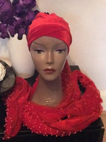Red Fully Beaded  Double velvet Turban headwraps ....available in diff colour