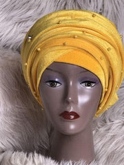 Yellow Double Beaded velvet Turban headwraps .. Plus Other colours - African Clothing from CUMO LONDON
