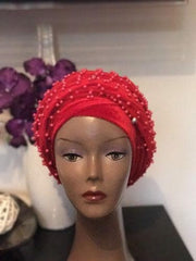 Red Fully Beaded Double velvet Turban headwraps ....available in diff colour - African Clothing from CUMO LONDON