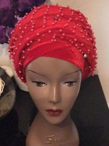 Fully Beaded Royal Blue Double velvet Turban Head Wraps - African Clothing from CUMO LONDON