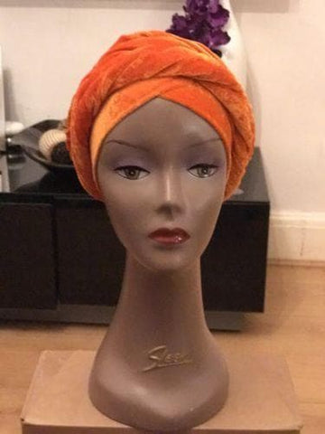 Double Velvet Turban headwraps in Orange (also available in other colours) - ATMKollectionz