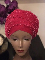Pink Fully Beaded Double velvet Turban headwraps ....available in diff colour - African Clothing from CUMO LONDON