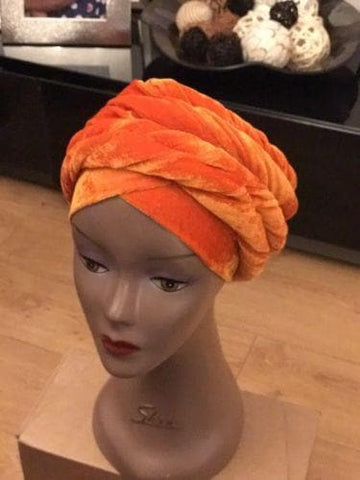 Double Velvet Turban headwraps in Orange (also available in other colours)