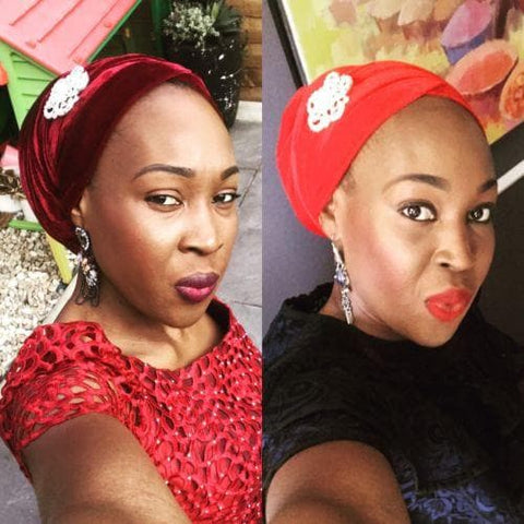 2 Velvet Turban Head Wrap(single wrap) With 1 Brooch - ATMKollectionz