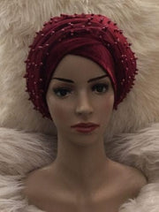 Full Beaded Double Burgundy velvet Turban headwraps. Other colours Available - African Clothing from CUMO LONDON