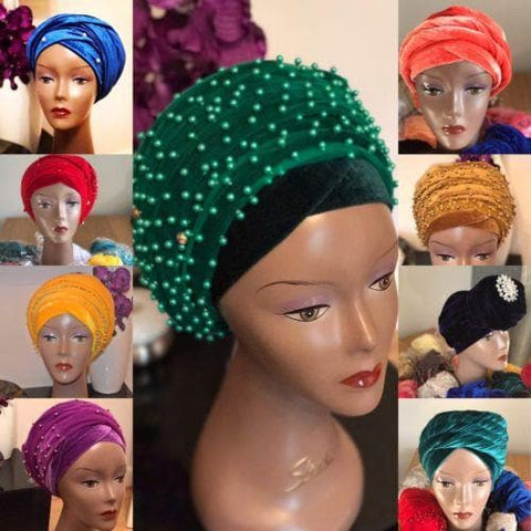 Full Beaded  Double velvet Turban head wraps ....available in different colour