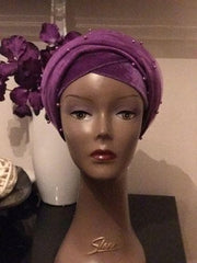 Single Beaded velvet Turban headwraps With Mesh Net in Lilac - ATMKollectionz