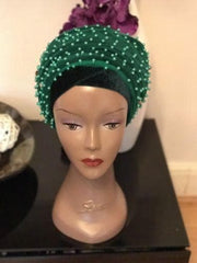Full Beaded Double velvet Turban head wraps ....available in different colour - African Clothing from CUMO LONDON