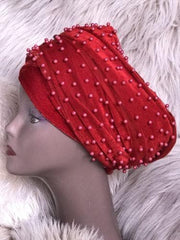 Fully Beaded  Red Double velvet Turban Head Wraps - ATMKollectionz