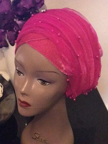 Rose Pink Double Beaded velvet Turban headwraps .. Plus Other colours