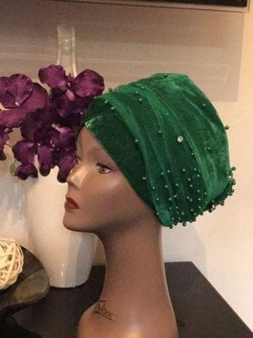 Single Beaded velvet Turban headwraps With Mesh Net in Emerald Green