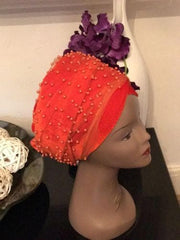 Fully Beaded Double velvet Turban headwraps ....available in different colour - African Clothing from CUMO LONDON