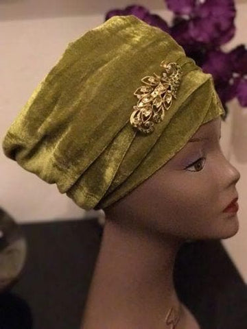 Double Velvet Turban head wrap various colours (red, white, blue, green, black)