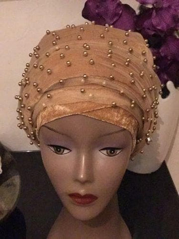 Fully Beaded  Royal Blue Double velvet Turban Head Wraps
