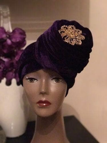 Double Velvet Turban headwraps - Purple (also available in other colours)