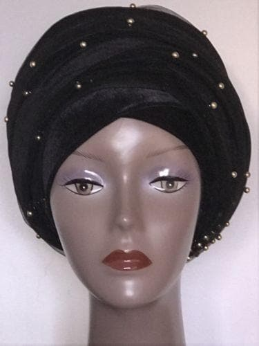 Black With Gold Beads Double velvet Turban headwraps .. Plus Other colours - African Clothing from CUMO LONDON