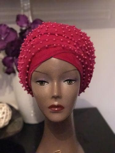 Pink Fully Beaded  Double velvet Turban headwraps ....available in diff colour - ATMKollectionz