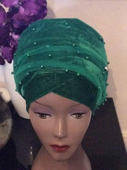 Single Beaded velvet Turban headwraps With Mesh Net in Emerald Green - African Clothing from CUMO LONDON