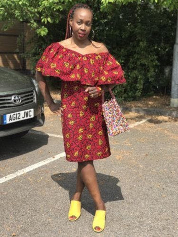 New African fabric Ankara Summer Dress women Size 12 - 16 UK, red n yellow - ATMKollectionz