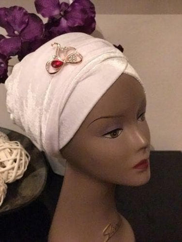 Double Velvet Turban headwraps - White (also available in other colours)