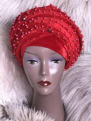 Fully Beaded Red Double velvet Turban Head Wraps - African Clothing from CUMO LONDON