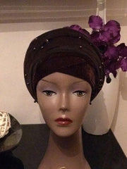 Brown Single Beaded velvet Turban headwraps With Mesh Net - African Clothing from CUMO LONDON