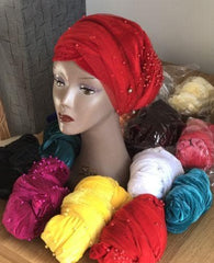 Double Beaded velvet turban Head Wrap in Red - African Clothing from CUMO LONDON