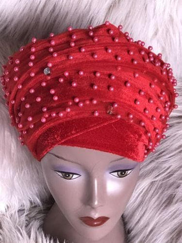 Fully Beaded  Red Double velvet Turban Head Wraps