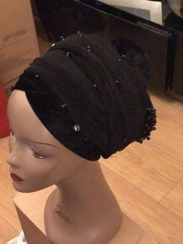 Velvet Turban Beaded In Single headwraps With Mesh Net in Lilac
