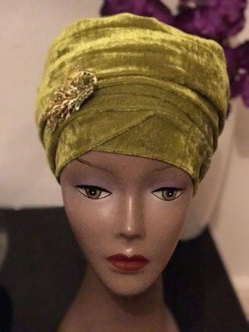 Women Velvet Turban head wrap various colours (red, white, blue, green, black)
