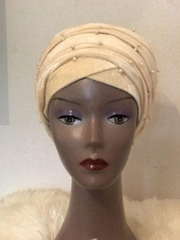 Nude Beaded velvet Turban headwraps (double) ....available in Other colour