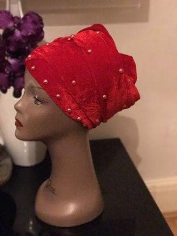 Double Pearl Velvet Turban headwraps In Red (other Colours Available)
