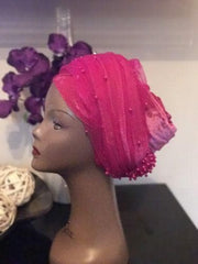 Rose Pink Double Beaded velvet Turban headwraps .. Plus Other colours - African Clothing from CUMO LONDON