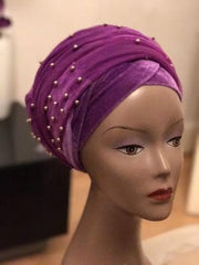 Velvet Turban Beaded Double headwraps .. Plus Other colours - ATMKollectionz