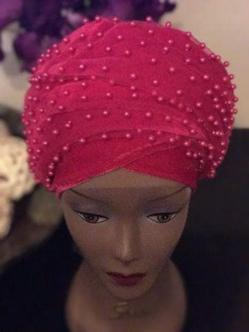 Full Beaded  Pink Double velvet Turban head wraps ....available in diff colour