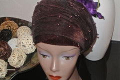 Velvet Turban Beaded Double headwraps .. Plus Other colours - African Clothing from CUMO LONDON