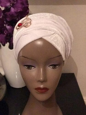 Double Velvet Turban headwraps - White (also available in other colours) - ATMKollectionz